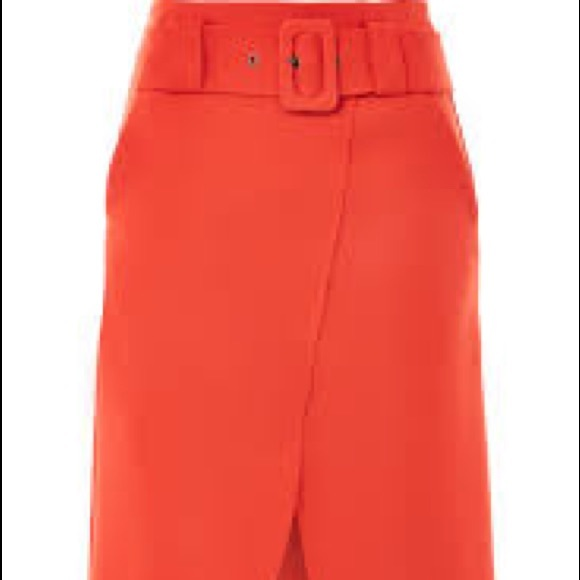 781d09ac23 Topshop Red-Orange Midi Curve Wrap Belted Skirt. M_5acea6052ae12fc35d4e5794